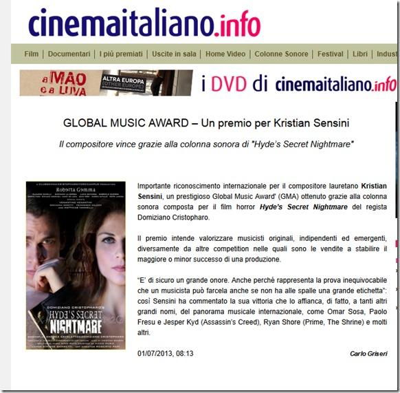 GLOBAL MUSIC AWARD – Un premio per Kristian Sensini - CinemaItaliano.info