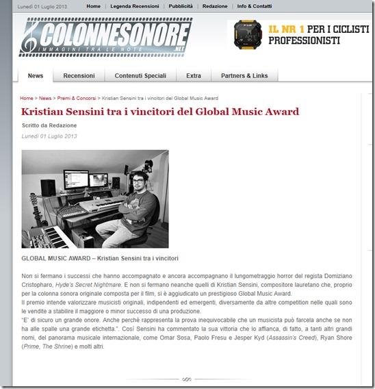 Kristian Sensini tra i vincitori del Global Music Award