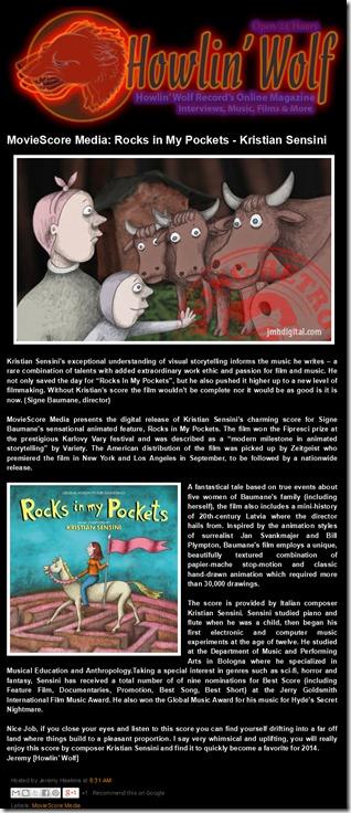 Howlin' Wolf- On-Line Magazine- MovieScore Media- Rocks in My Pockets - Kristian Sensini