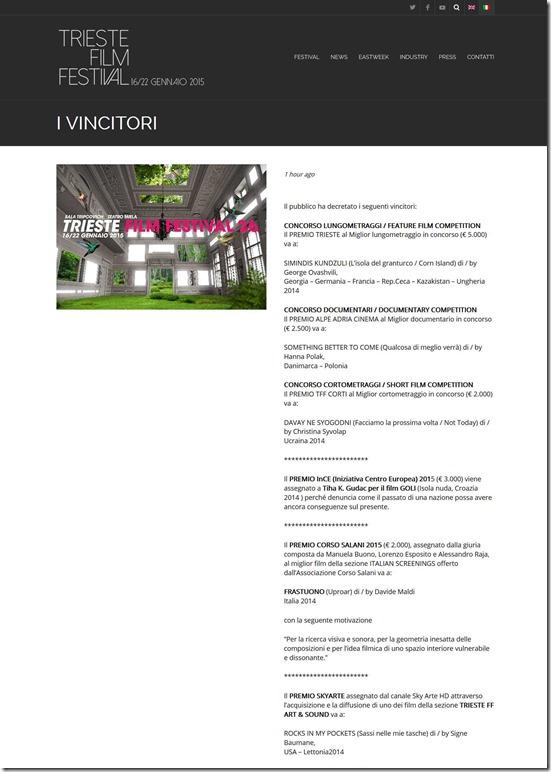 I VINCITORI ‹ Trieste Film Festival