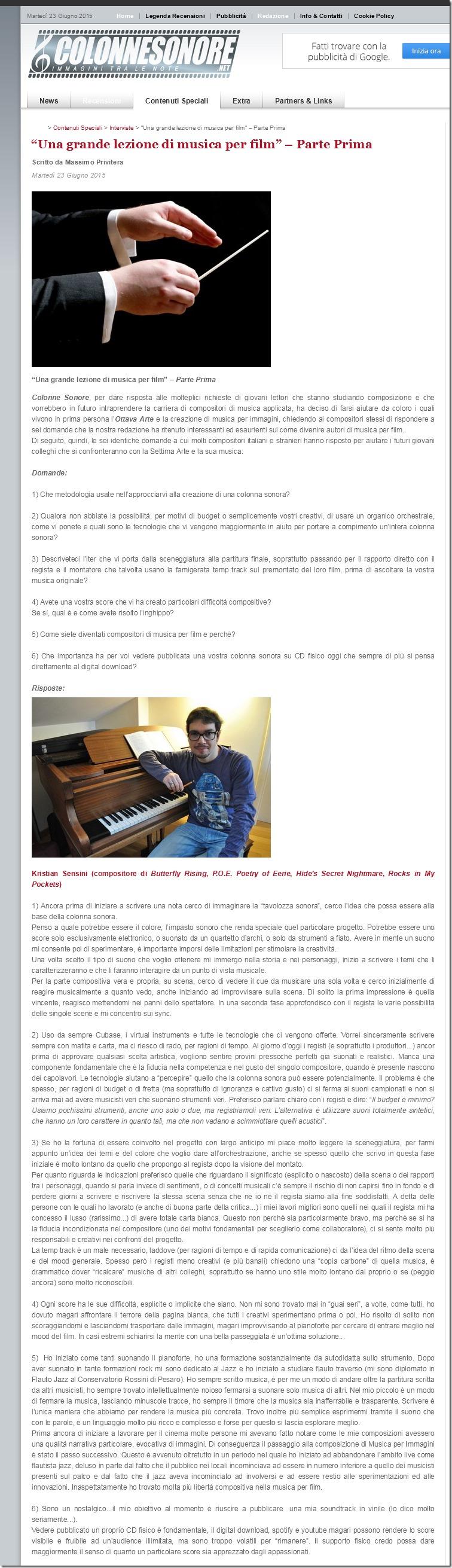 Lezione Musica da Film Colonne Sonore